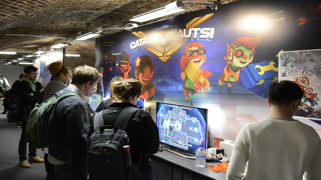 Attendees at the Catastronauts EGX Rezzed 2018 booth - Pass the Controller