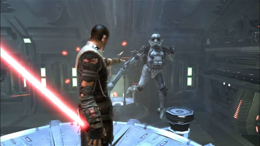 Best licensed games - Star Wars: The Force Unleashed - Starkiller scares a Stormtrooper with Force Lift